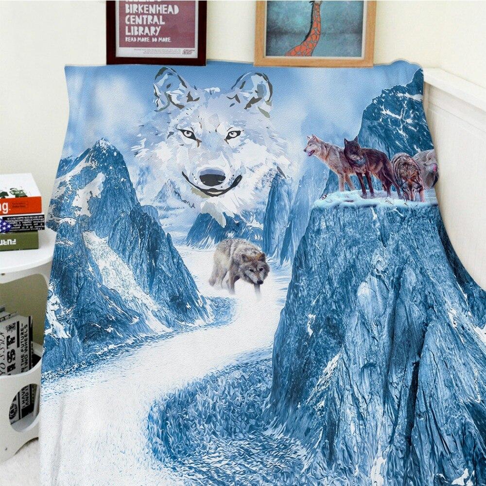 Couvertures confort doux en peluche facile à entretenir belle neige montagne loups Totem paysage chaud jeter Cobertor pour canapé-lit