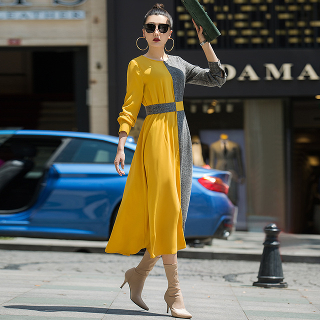 1ed5f482622 VERRAGEE 2018 new autumn long patchwork solid color yellow grey formal vintage  maxi dress long ankle