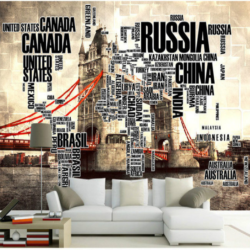 English alphabet tower bridge large world map wallpaper mural english alphabet tower bridge large world map wallpaper mural painting living room bedroom tv backdrop stereoscopic wallpaper in wallpapers from home gumiabroncs Image collections