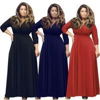 New Fashion Sexy Women Plus Size Lace Long Sleeve Maxi Dress V Neck Satin Waist Casual Party Evening Party Dress Gown De 18