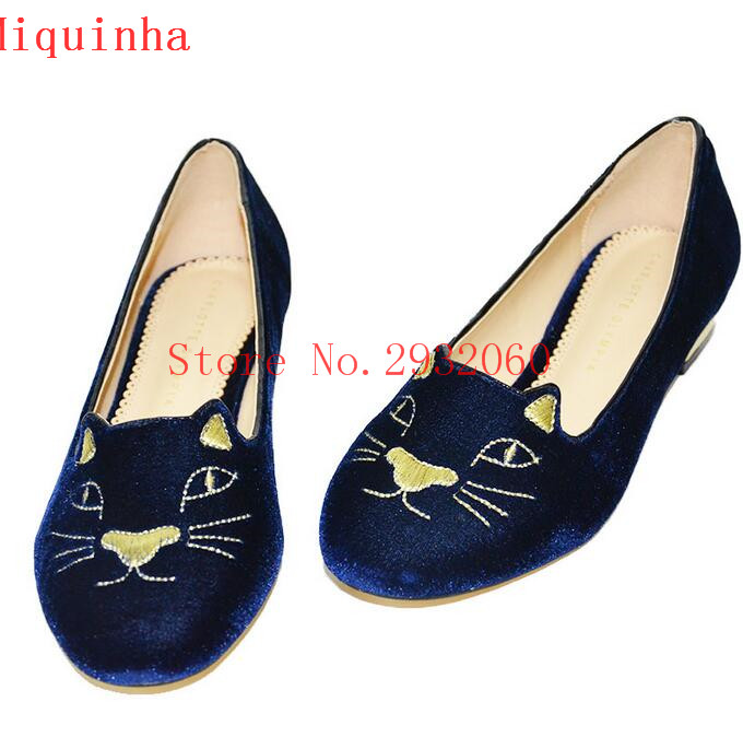 ФОТО 2017 Fashion Cute Animal Prints Embroider Flats Women Shoes Casual Sapatos Mujer 3 Colors Flock Low Square Heel