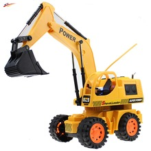RC Truck 5CH 4 Wheel RC Excavator wired Remote Control Digger Dig Function with Light Shovelloader Model Electronic Toy
