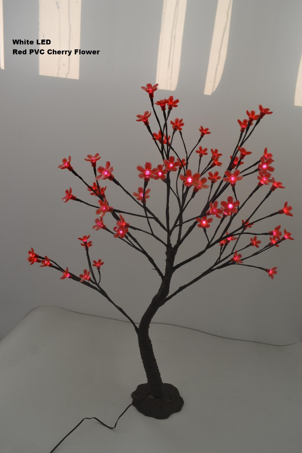 64 PCs White LED plus Colorful PVC Cherry Blossom Flower Tree in 70cm standing cherry tree with Base and nature trunk treatment