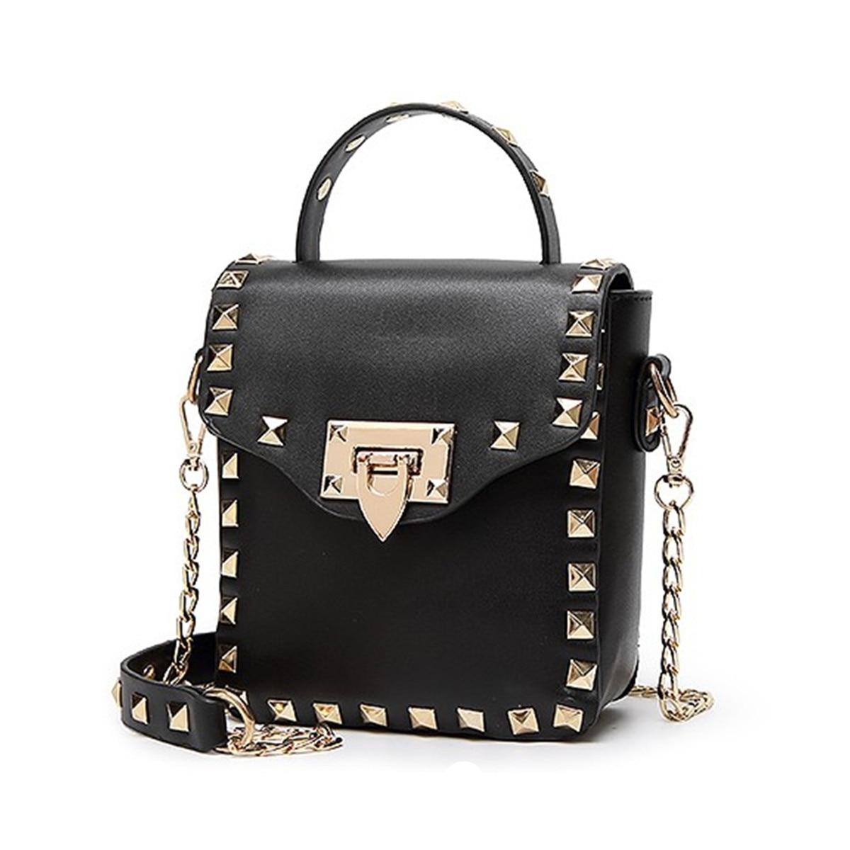 2016 Women Bag Fashion Women Messenger Stud Bags Rivet Chain Shoulder Bag High Quality PU Leather