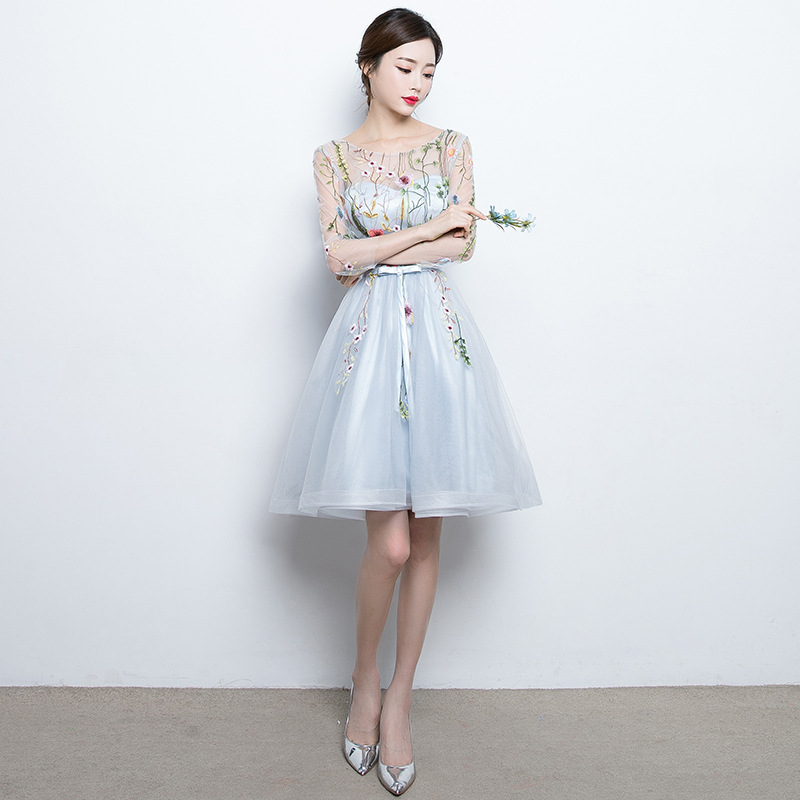 YIDINGZS Short Prom Dresses Embroidery Tulle Knee Length Party Dress 2