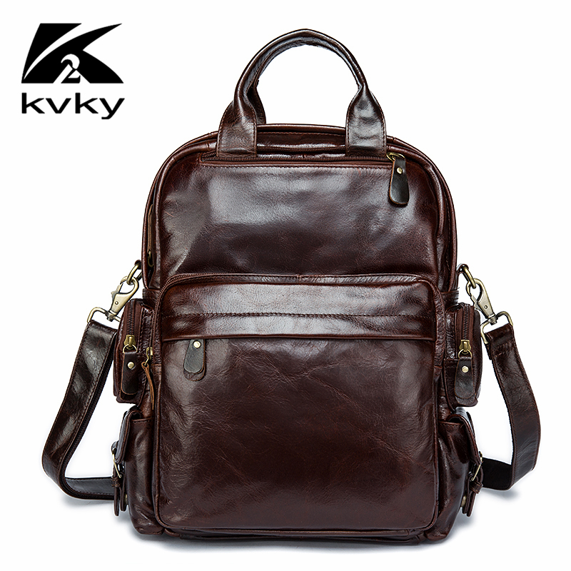 KVKY Vintage Genuine Leather Men Backpack Real Cowhide School Bag for Teenagers Business Laptop Travel Men Bags Mochila Rucksack