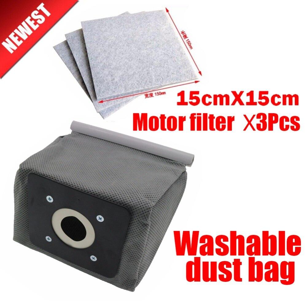 1pcs Universal Cloth Bag+3Pcs Motor Filter Washable Reusable Vacuum Cleaner Dust Bags For Philips Electrolux LG Samsung Etc