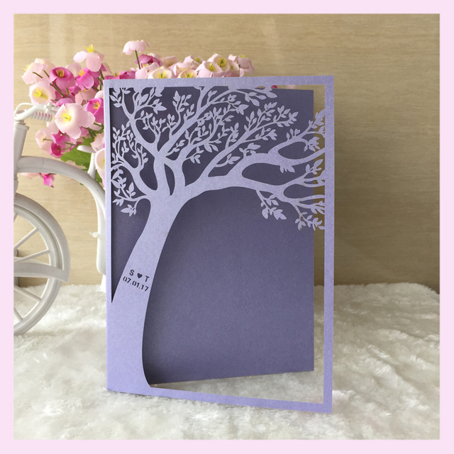 100pcs Lot Customized Words Bat Bar Mitzvah Decoration Laser Cut Pretty Love Tree Design Wedding Invitation Cards Ceremony