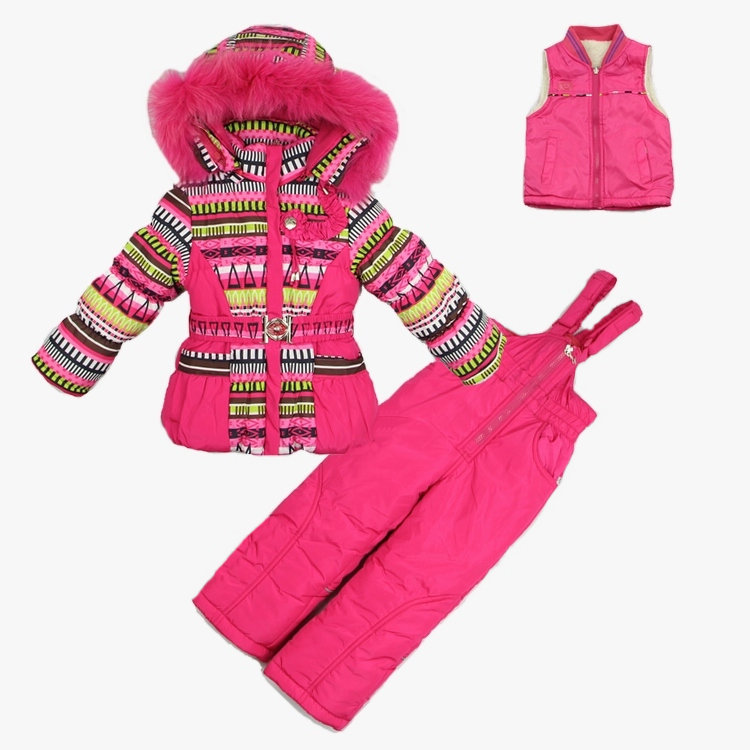 ФОТО 2016 New brand children girl winter clothing sets kids thick warm snowsuits hooded outerwear + vest + overalls ski garments