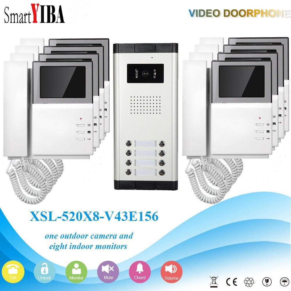 SmartYIBA 4.3 LCD Porte De cloche Téléphone Appartement Accueil Interphone Système D'entrée Pour 8 Familles Maison Villa Vidéo Porte téléphone