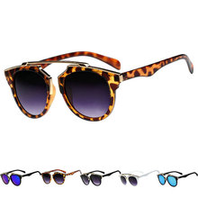 New Retro Vintage Women Men Sunglasses Black Leopard Round Frame Cat Eye Eyewear Eye Glass Oculos De Sol LE3