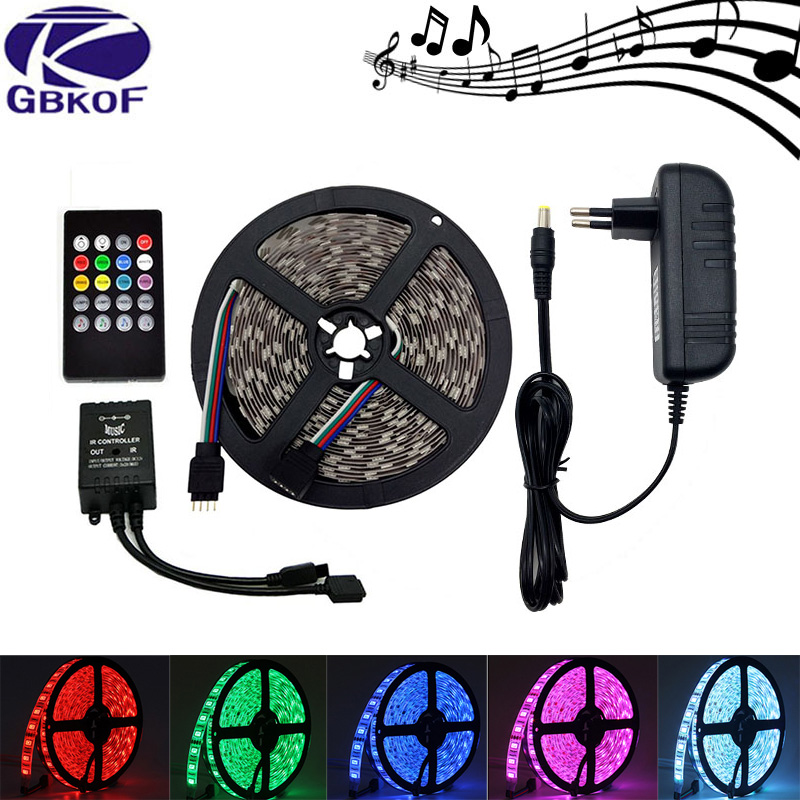 10M 5M RGB led strip light waterproof SMD 5050 3528 2835 flexible diode tape ledstrip with music remote control+DC 12V adapter 10m 5m 3528 5050 rgb led strip light non waterproof led light 10m flexible rgb diode led tape set remote control power adapter