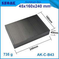1 Piece Brushed Aluminium Enclosure Black Electronic Junction Case For Pcb Broad 45x240x160mm