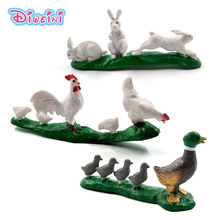 Simulation Chicken Duck Rabbit action figure Farmland animal Model fairy garden decoration accessories statue toy Gift For Kids