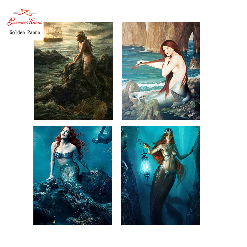 Golden Panno,Needlework,DIY DMC Cross stitch,Sets For Embroidery kit 14ct unprinted Mermaid cross-Stitching,christmas 0312