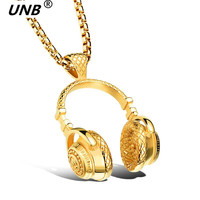Fashion Hip Hop Cool Headset Design Necklace 18K Gold Black Silver Pendant For Women Stainless Steel
