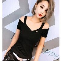Off Shoulder Top Summer Tops For Women 2018 V Neck T Shirt Women Korean Clothes Tee Shirt Femme Woman Tshirt Camisetas Mujer