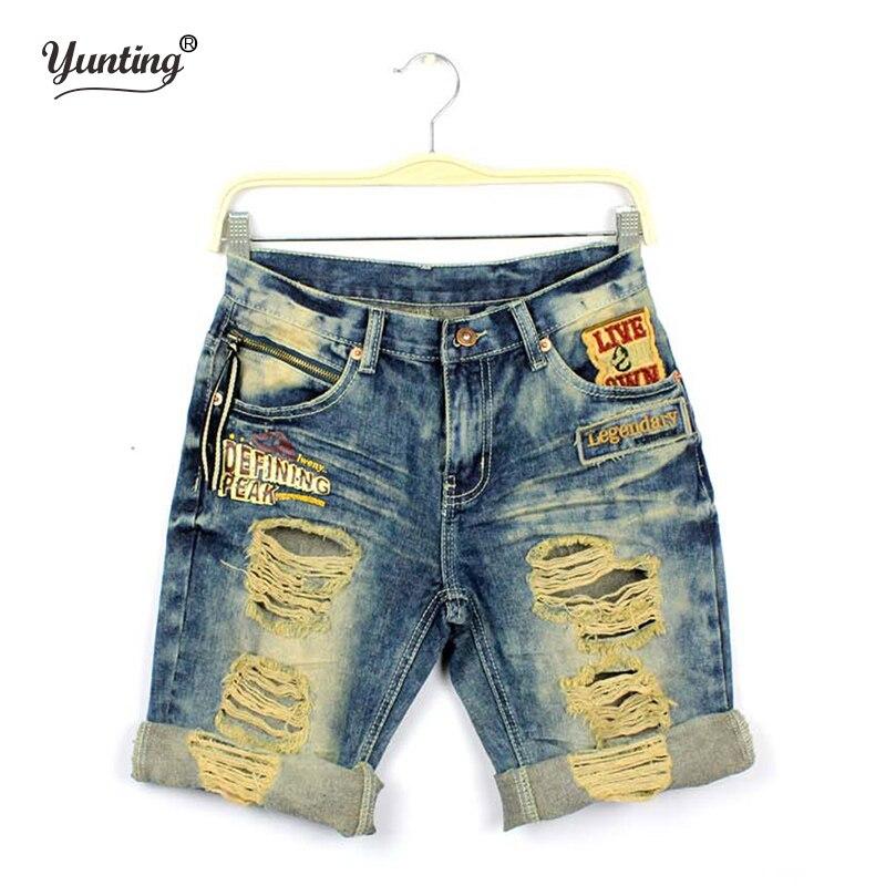 Letní milenci džíny příležitostné díry denim capris výšivka roll up lem šortky mužské a ženské doprava zdarma