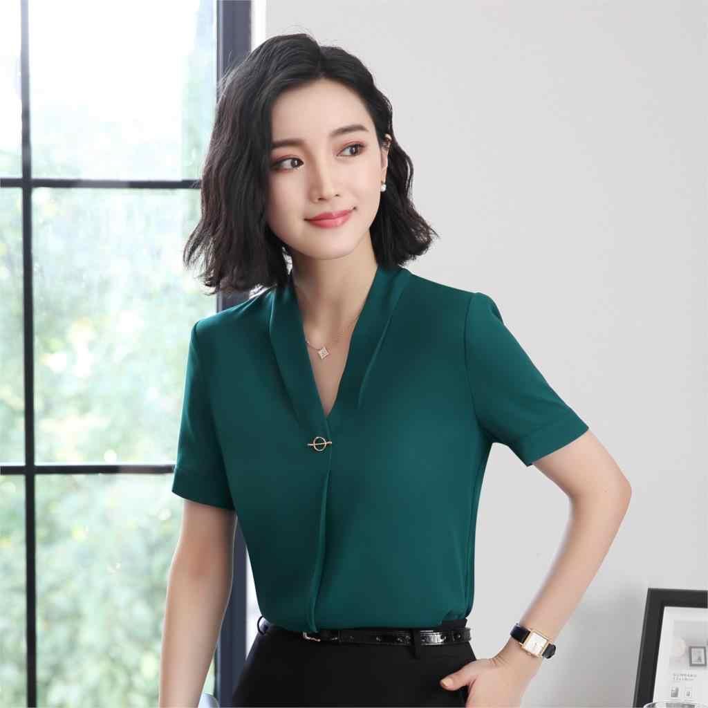 2c980ed0d7db ... Grey Chiffon Blouses Formal Uniform Shirts For Ladies OL Styles Blouse  Business Women Work Wear Tops ...