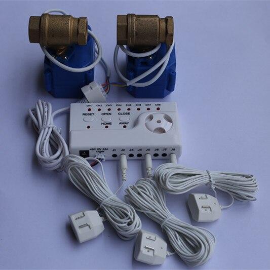 WLD-806 Hidaka Système D'alarme de Détection De Fuite D'eau avec Arrêt Automatique Double Valve 1/2 et 8 pcs Sensible Capteur d'eau Câble