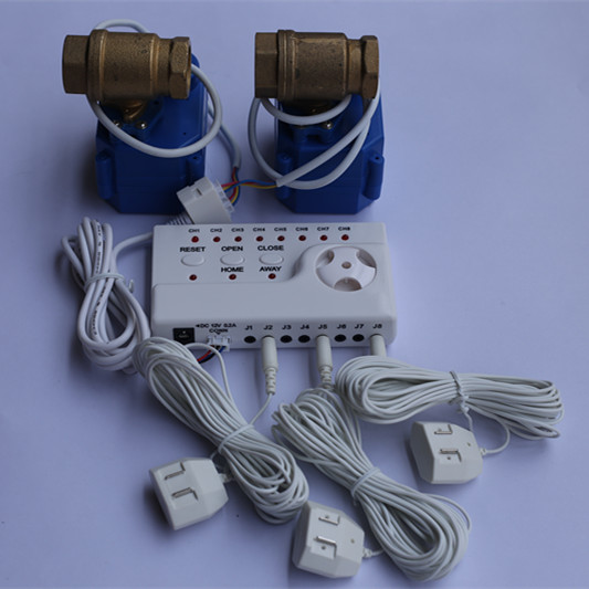 WLD-806 Hidaka Water Leak Detection Alarm System with Auto Shut-off Double Valve 1/2 and 8pcs Sensitive Water Sensor Cable