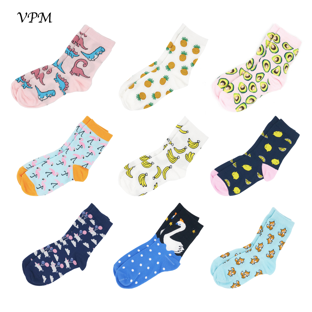VPM Women Socks Colorful Cartoon Cute Food Milk Fruits Animal Lovely Funny Socks