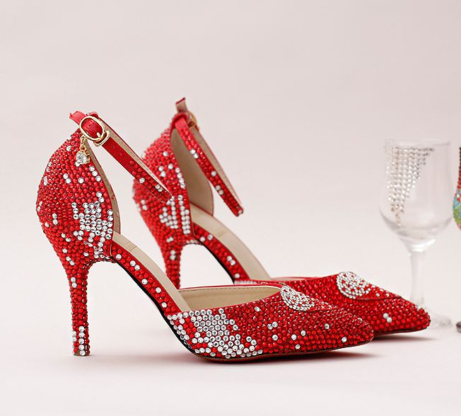 ФОТО 2017 new women red pumps shoes TG724 woman sexy point toes pearl crystal party shoes red ankle strap thin high heels proms shoe