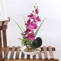 Pink Green Purple White Phalaenopsis Orchid Artificial Silk Flowers 7 Head Simulation Phalaenopsis Bonsai Simulation Of