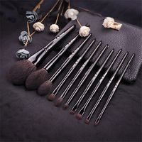 10Pcs Makeup Brushes Set Professional Black Natural Goat Hair Powder Blush Brush Eyeshadow Blending Cosmetic Brush