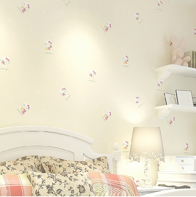 Cream Yellow Color Hello Kitty Wallpaper For Girls Room Kids Bedroom