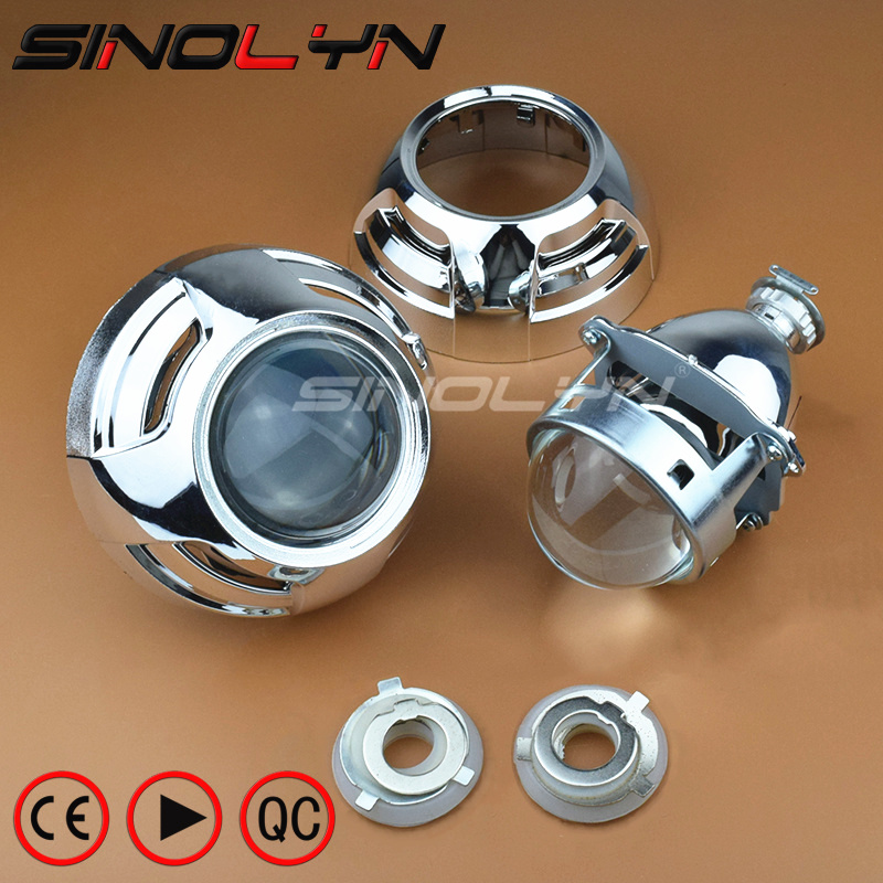 SINOLYN Car Xenon HID Projector Super Metal 3.0'' H1 Bi-xenon Headlight Lens Fits H4 H7 LHD RHD With Apollo 3.0 Shrouds Styling royalin car styling hid h1 bi xenon headlight projector lens 3 0 inch full metal w 360 devil eyes red blue for h4 h7 auto light