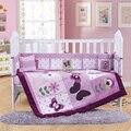 4PCS Embroidery purple Crib Bed Linen Baby Bedding Set baby cot set ,include(bumper+duvet+sheet+pillow)
