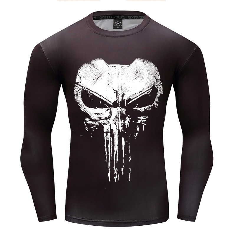 Fitness 3D Print Skull Long Sleeves T Shirt Men Bodybuilding Skin Tight Compression Shirt MMA Crossfit Workout Punisher Tee Tops