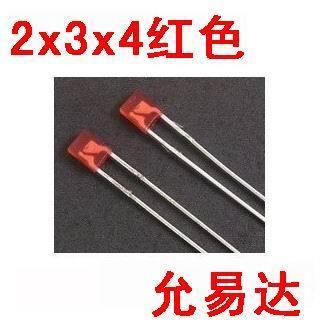 Czerwony 02-65 100 sztuk/partia 2X3X4 plac LED czerwona dioda emitująca światło (kwadrat)