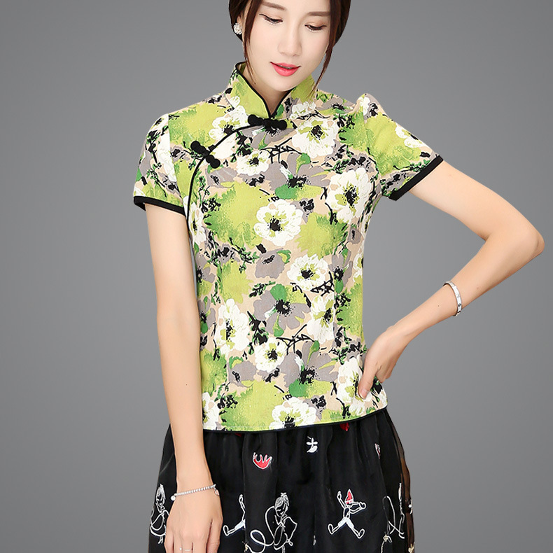 Shanghai Story Blend Linen Chinese Traditional Top Qipao Shirt for Woman Cheongsam Style Shirt Chinese Blouse for Ladies