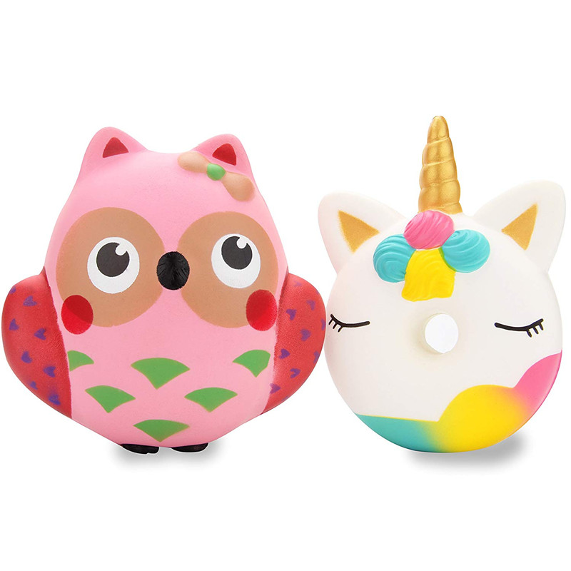 Cute Unicorn Donut Owl Set Kawaii Cream Scented Squishies Slow Rising Decompression Squeeze Toys for Kids or Stress Relief Toy funny gadgets football squishy slow rising cream scented decompression kid toys anti stress ball kawaii squishies joke toys gift