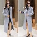 2016 Outono Novas Mulheres Chegada Camurça Longo Blusão Feminino Moda Slim Sem Botões Casaco Com Cinto Plus Size S-2XL