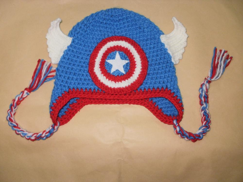 New Captain America Children Kids Toddler Warm Cartoon Crochet Cap Knitted  Earflap Beanie Hat Christmas Gift 2b51fbd78e2