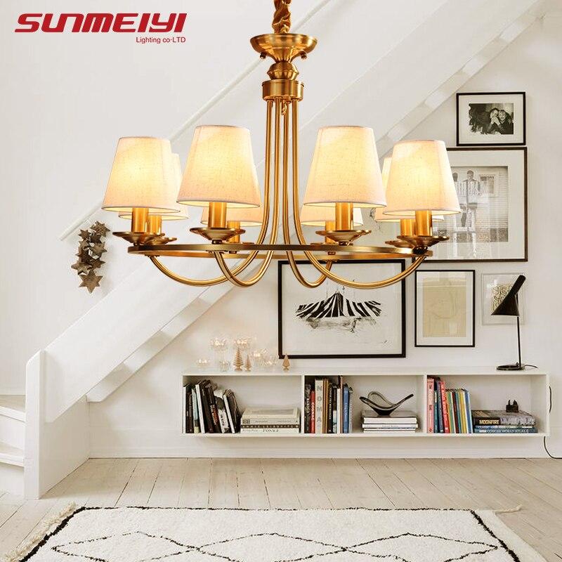 Американский Медь светодиодный люстры Ретро блеск para sala Спальня Гостиная висит кулон Luminaria Indoor свет люстры