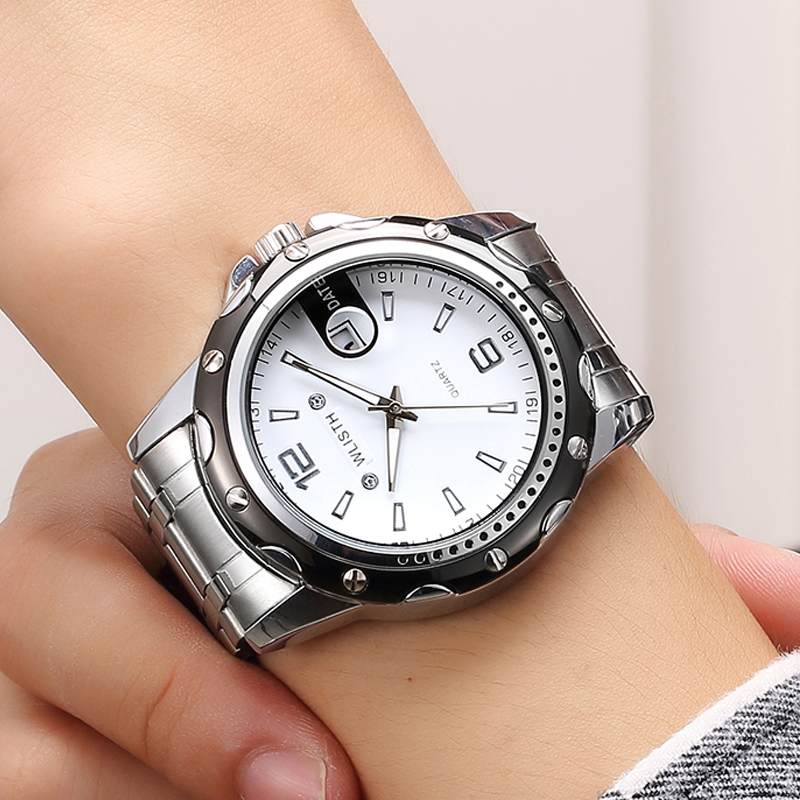 Relogio Masculino Watches Men Sport Wristwatch Quartz Dial Alloy Case Stain Steel Strip Waterproof Male Clock Watch S504