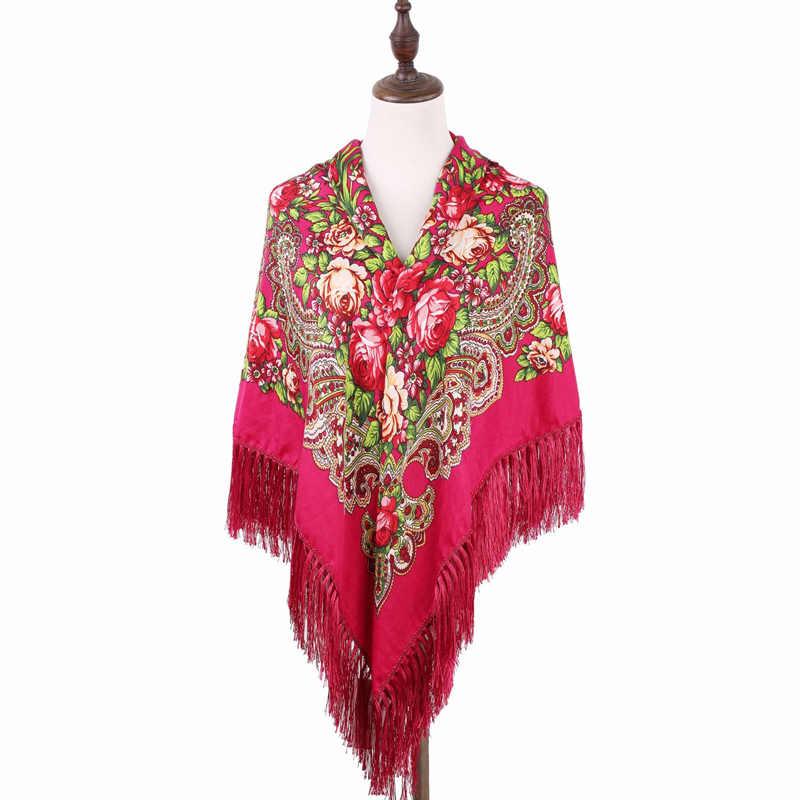 Klassieke Russische Stijl Folk Art Sjaal Vrouwen Hoofddoek Bloem Patroon Twill Katoenen Sjaal Mode Sjaal Sjaal Met Kwastje 140 cm