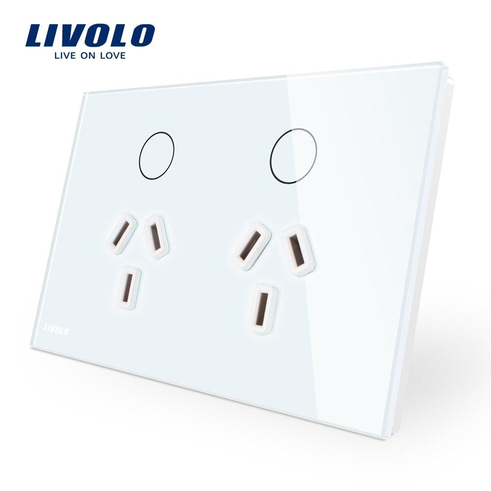 Livolo Australie Standard Tactile Power Control Socket, Blanc/Noir Plaque de Verre, AC 110-250 v. Double Prise Murale VL-C9C2AU-11/12