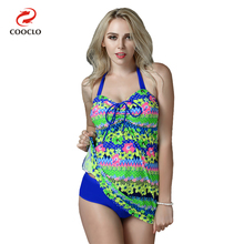 COOCLO Plus Size Women Swimwear Halter Floral Print Womens Beachwear Two Pieces Tankini Swimsuit Large Cup Bathing Suit XXL-6XL