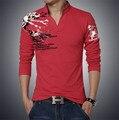 2017 Новый Осень Высокое Качество Повседневная Мужчины Поло, Особенности Высокой Четкости Печати Твердых Рубашки поло Плюс Размер 5XL Мужчин Рубашки поло