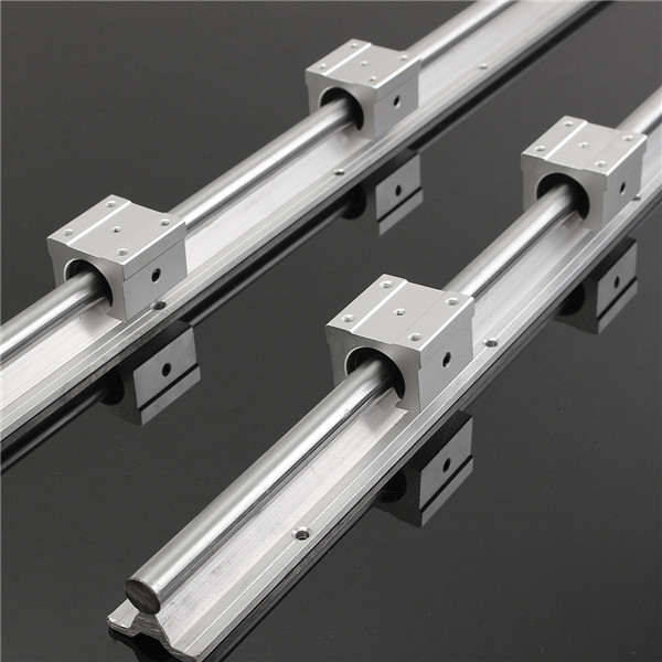 MTGATHER NEWEST 2Pcs SBR16-750MM Rails 16mm Linear Support Bearing Rail +4 Slide Blocks CNC SBR16UU for DIY CNC routers