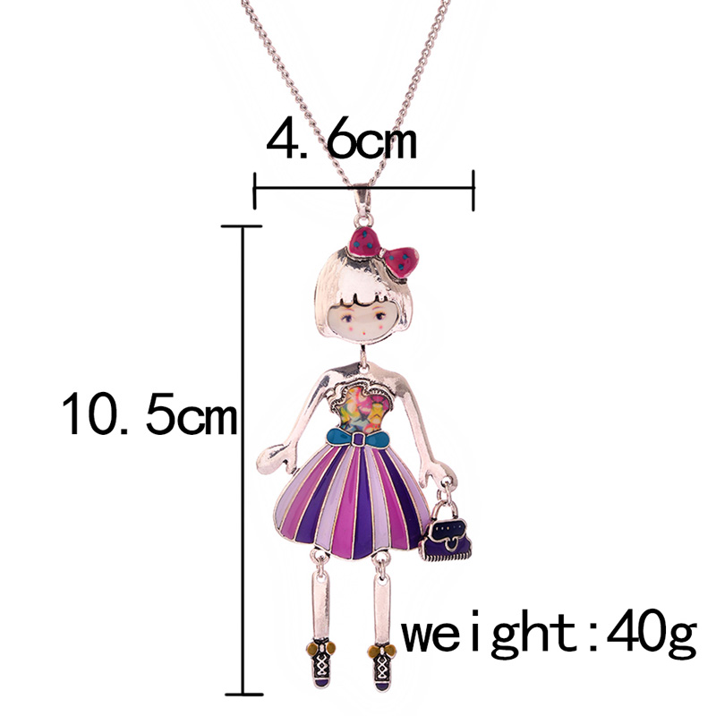 Women Necklace Pendant Lovely Doll Pendant For Party Classic Enamel Alloy Girl Long Statement Necklace Cute Link Chain Jewelry in Pendant Necklaces from Jewelry Accessories