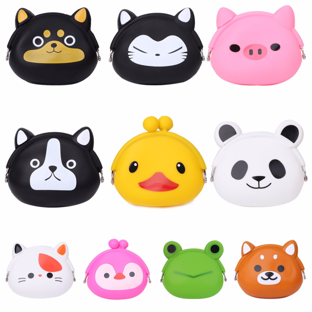 THINKTHENDO New Design Animal Coin Bag Mini Clutch Change Coin Purse Cute Silicone Cartoon Wallet Pouch Bag Case 10 Color thinkthendo fashion women children coin purse wallet faux leather change bag zip mini pouch bag handbag 2017 new cute 7 colors