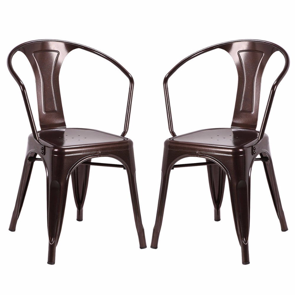 Goplus set of 2 vintage style home arm chair stackable for Metal living room chairs