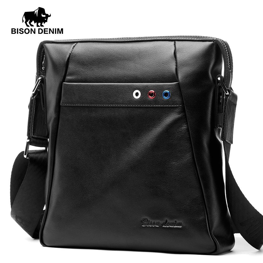 BISON DENIM luxury brand men bag genuine leather crossbody men messenger bags business shoulder bag сумка bison denim n1157 bis0n denim