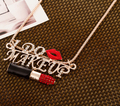 Luxurious Women Exaggerated Korean Sexy Lady Red Lip Full Rhinestone Lipstick Sweater Necklace N2661